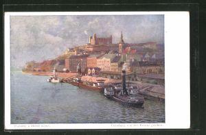 Künstler-AK Pressburg, Ortsansicht von der Brücke aus gesehen, Dampfer an der Anlegestelle