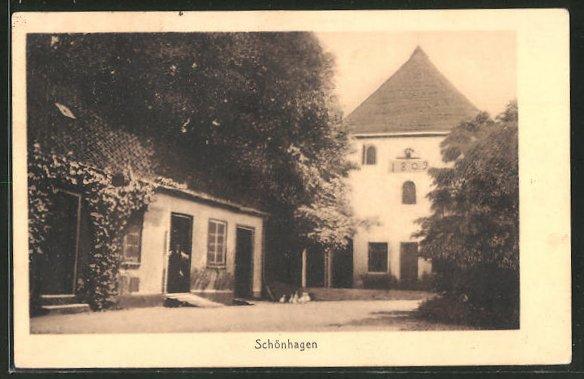 AK Schönhagen, Schloss Schönhagen, Teilansicht