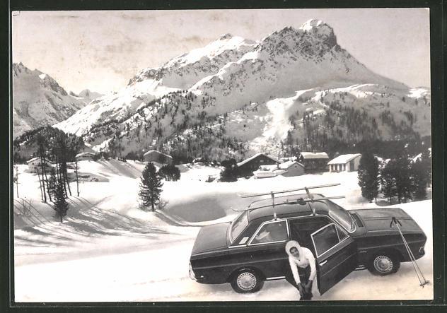 AK Ford im Gebirge, Reklame für Auto-Grohmann aus Offenbach a. M.