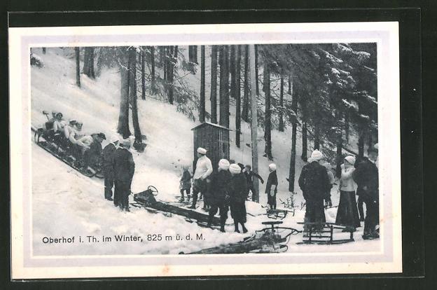 AK Oberhof i. Th., Ankunft nach rasanter Schlittenfahrt