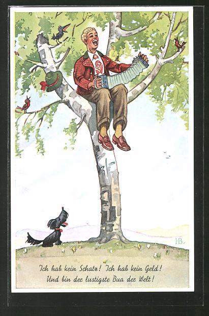 Künstler-AK Hans Boettcher: Mann sitzt auf einem Baum und singt, Hund steht darunter und schaut zu