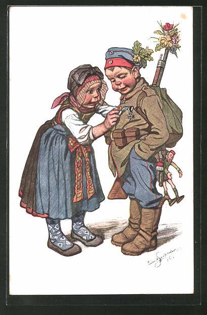 Künstler-AK Emil Beithan: Kleines Mädchen steckt einem Jungen als Soldat ein Abzeichen an