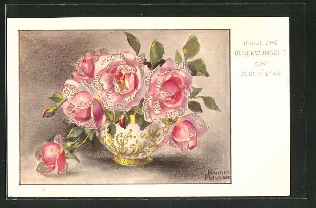 Künstler-AK Hannes Petersen: Herzliche Glückwünsche zum Geburtstag, Blumen in einer Vase