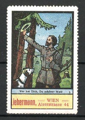 Reklamemarke Jäger mit Hund und Gewehr im Wald