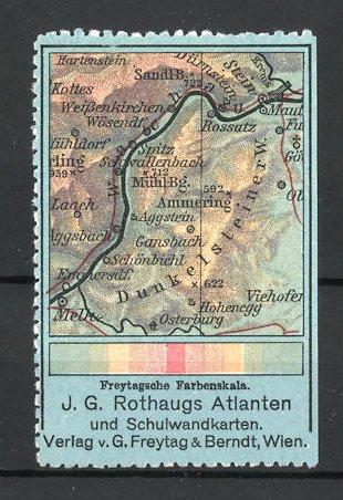 Reklamemarke Rothaugs Atlanten und Schulwandkarten, Verlag Freytag & Berndt in Wien