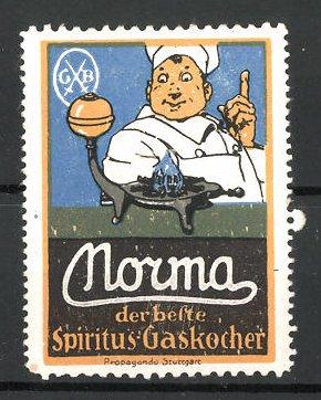 Reklamemarke Morma, der Spiritus Gaskocher