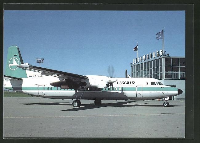 AK Flugzeug Fokker F-50 der Luxair auf dem Luxemburger Flughafen