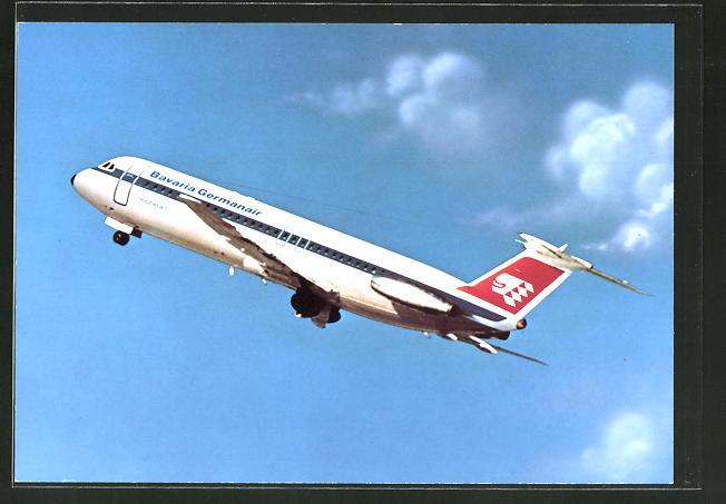 AK Flugzeug BAC Super One-Eleven von Bavaria Germanair beim Start