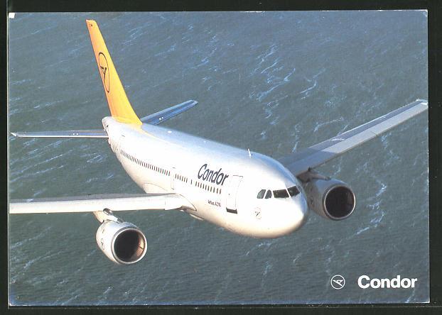 AK Airbus A 310-200 von Condor über dem Wasser