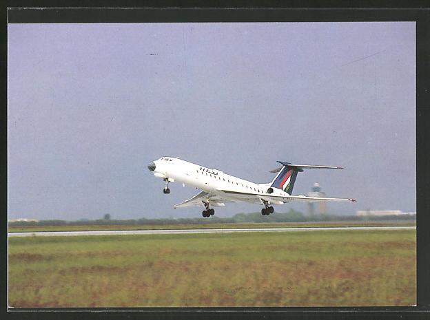 AK Flugzeug TU 134 von Malev beim Start