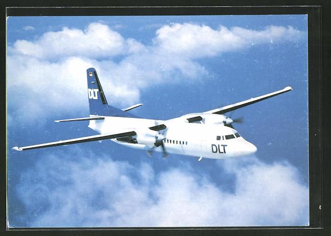 AK Flugzeug Fokker 50 der Deutschen Luftverkehrsgesellschaft (DLT)