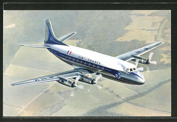 AK Flugzeug Vickers Viscount von Air France im Anflug
