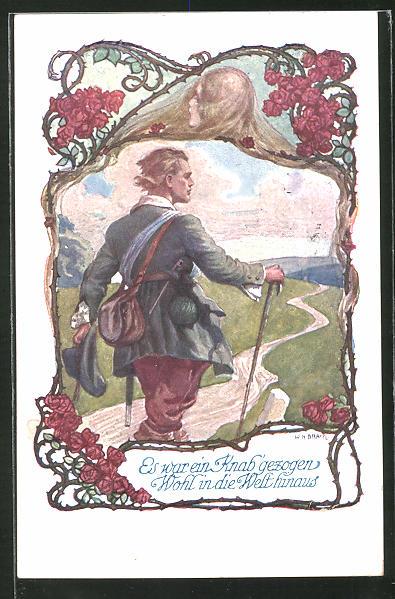 AK Deutscher Schulverein Nr.1063: Es war ein Knab gezogen, wohl in die Welt hinaus, Wanderer