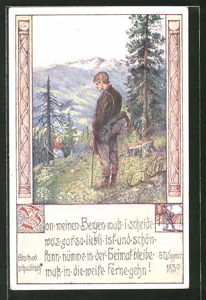 Künstler-AK Brüder Kohn (B.K.W.I) Nr.760-6: Mann verabschiedet sich von einer Frau