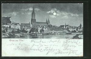 Mondschein-AK Ulm a. D., Teilansicht mit Blick zum Münster