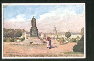 Künstler-AK Karlsruhe, Schlossplatz mit Schloss und Carl-Friedrich-Denkmal