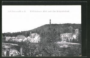AK Bad Freienwalde / Oder, Wilhelmstrasse mit Blick auf das Kriegerdenkmal