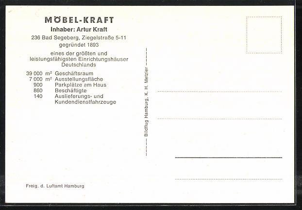 Ak Bad Segeberg Möbel Kraft Ziegelstrasse 5 11 Fliegeraufnahme Nr