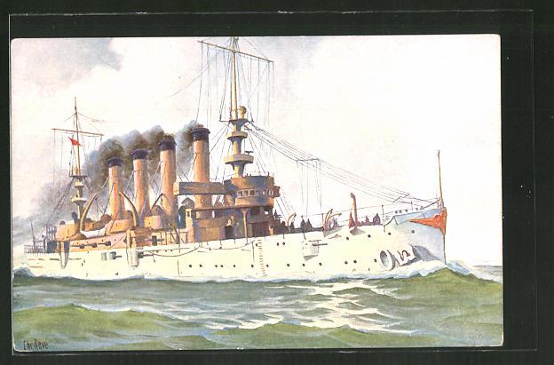 Künstler-AK Christopher Rave: Charleston, Panzerkreuzer der USA, 1904