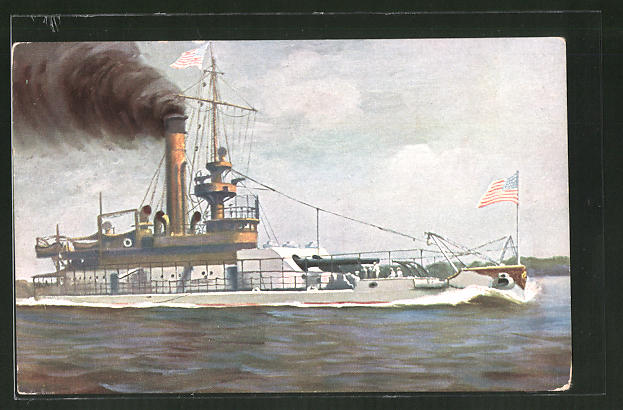 Künstler-AK Christopher Rave: Küstenpanzer Arkansas, USA 1900