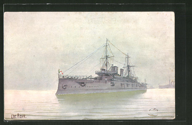 Künstler-AK Christopher Rave: Ital. Linienschiff Regina Margharita 1901