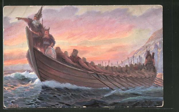 Künstler-AK Christopher Rave: Wikingerboot, 4, Jh.