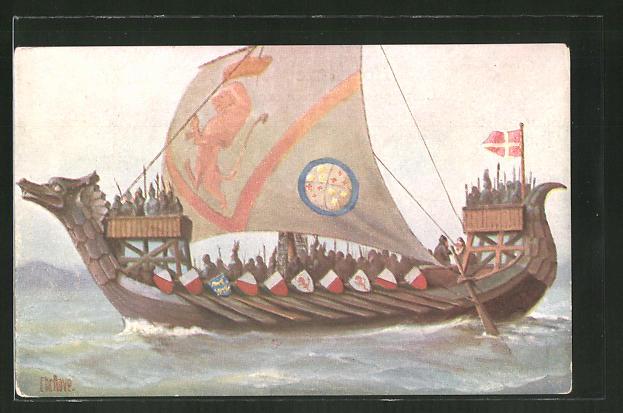 Künstler-AK Christopher Rave: Skandinavisches Drachenboot, 10. Jh., Drakkar, Drachenschiff