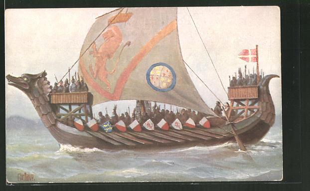 Künstler-AK Christopher Rave: Skandinavisches Drachenboot, 10. Jh., Drachenschiff, Drakkar