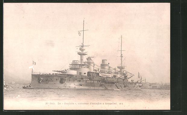 AK Le Gaulois cuirassé d'escadre a tourelles, französ. Kriegsschiff