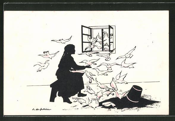 Künstler-AK Ov. Alt-Stutterheim: Die Tauben helfen Aschenputtel