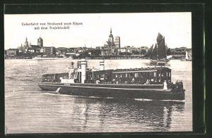AK Überfahrt von Stralsund nach Rügen mit dem Trajektschiff