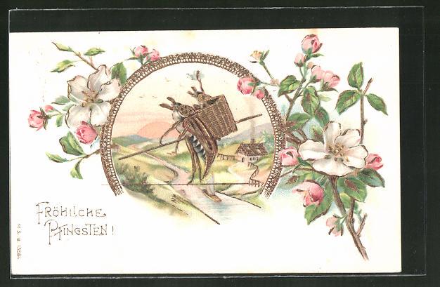 Präge-AK Maikäfer mit einem Baby Maikäfer auf dem Rücken balanciert auf einem Hochseil, Fröhliche Pfingsten!