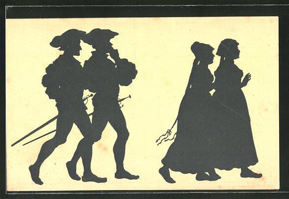 Künstler-AK Paul Konewka: Nachsteigen, Männer mit Degen laufen Frauen hinterher