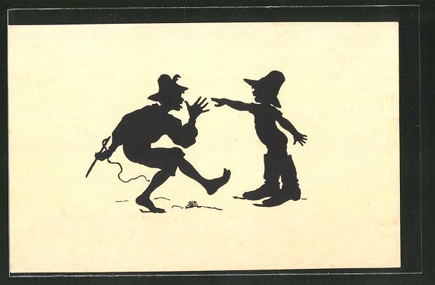 Künstler-AK Paul Konewka: Siebenmeilenstiefel, Mann und Kind spielen miteinander, Kind trägt zu grosse Stiefel