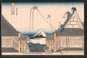 Künstler-AK Suruga-cho at Nihonbashi, Japaner lassen Drachen steigen, Japanische Kunst by Hokusai