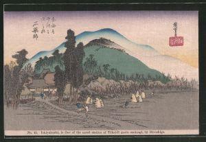 Künstler-AK Ishiyakushi, Japaner bei der Ernte, Japanische Kunst by Hiroshige