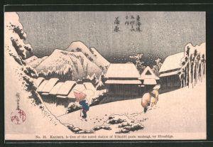 Künstler-AK Kanbara, Japaner bei Schnee in den Bergen, Japanische Kunst by Hiroshige