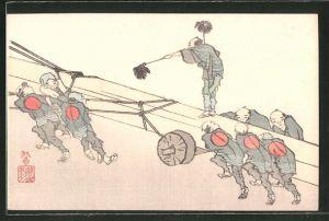 Künstler-AK arbeitende Japaner transportieren etwas den Berg hinauf, Japanische Kunst