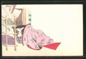 Künstler-AK Histor. Darstellung einer Frau, Japanerin