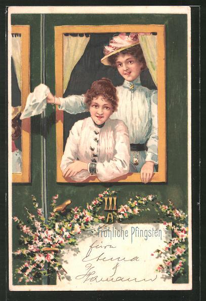 AK Fröhliche Pfingsten, Damen grüssen aus dem Zugfenster