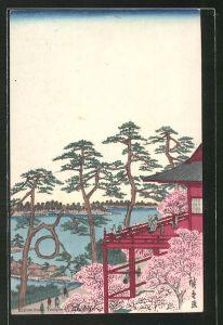 Künstler-AK Blick von einem Balkon auf eine japanische Landschaft, Japanische Kunst