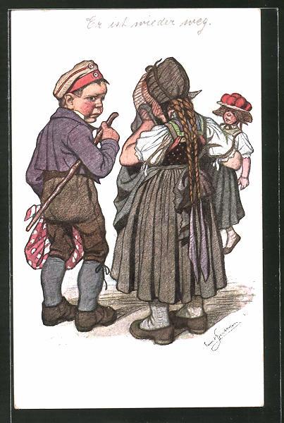 Künstler-AK Emil Beithan: Junge mit Beutel und weinendes Mädchen mit Puppe