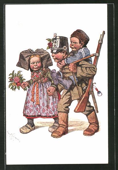 Künstler-AK Emil Beithan: Junge als Soldat verkleidet trägt einen anderen Jungen, Mädchen läuft daneben