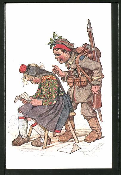 Künstler-AK Emil Beithan: Junge als Soldat verkleidet schleicht sich an ein Mädchen heran