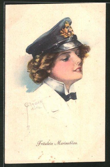 Künstler-AK Court Barber: Fräulein Marineblau, Frau mit Mütze