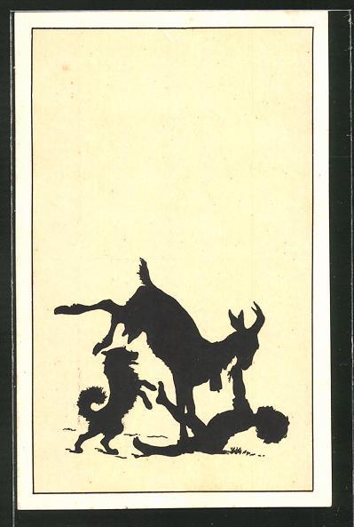 Künstler-AK Paul Konewka: Drunter oder drüber? Kind spielt mit Ziegenbock und Hund
