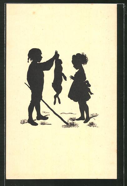 Künstler-AK Paul Konewka: Der arme Has, Junge hält einen Hasen an den Ohren fest