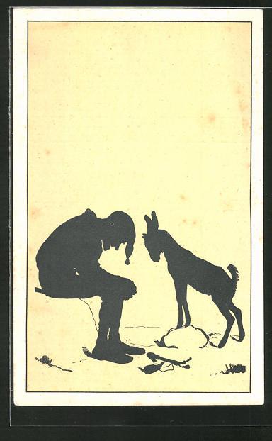 Künstler-AK Paul Konewka: Das Neckspiel, Mann lässt den Kopf hängen und junger Ziegenbock stellt sich auf einen Stein