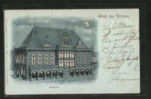 Mondschein-AK Bremen, Rathaus, Halt gegen das Licht: beleuchtete Fenster