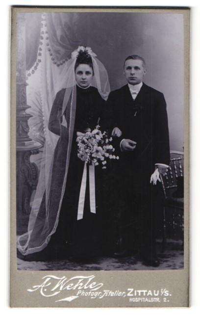 Fotografie A. Wehle, Zittau i/S, Portrait Hochzeitspaar, Braut und Bräutigam